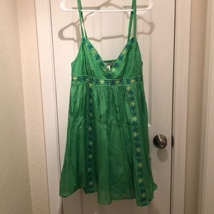 Banana Republic lime green dress silk blend